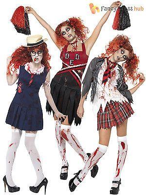 Adult ladies #zombie school girl cheerleader womens #halloween #fancy dress costu,  View more on the LINK: http://www.zeppy.io/product/gb/2/401000605506/