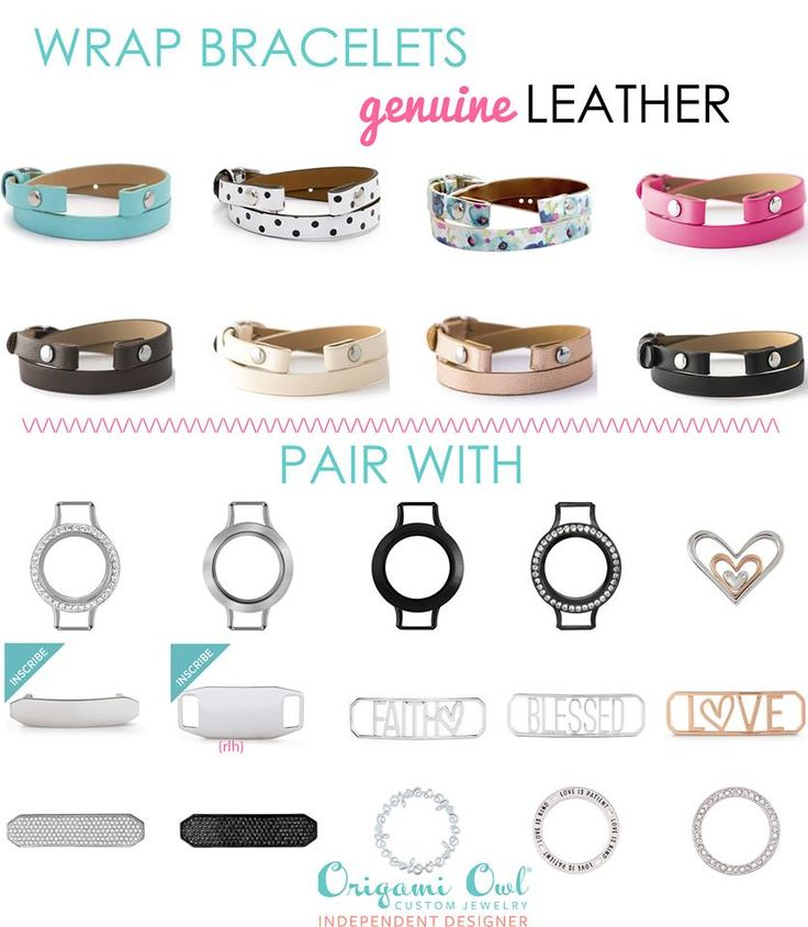Design your springtime leather wrap bracelet with Origami Owl..