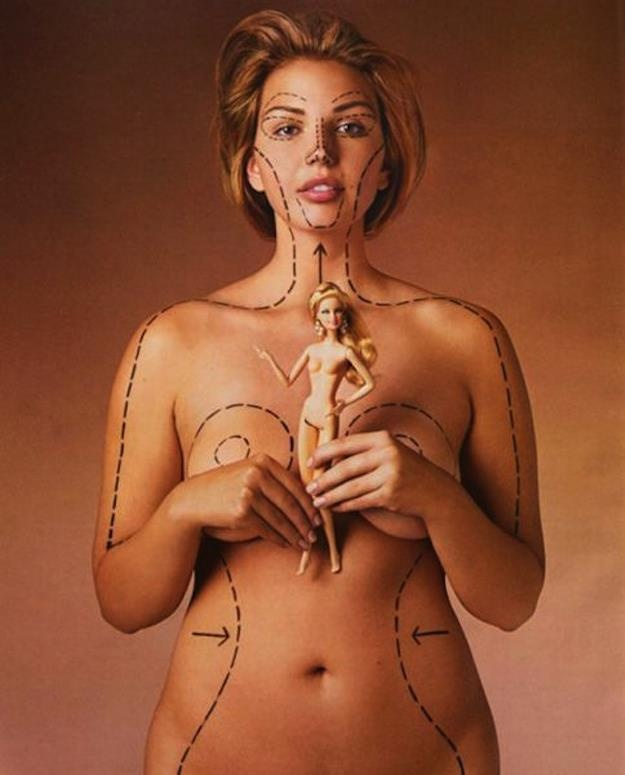 A fascinating look at Barbie's proportions outlined on a real woman. On a related note, researchers at the University of South Australia scaled up Ken and Barbie to life-size and concluded that the chance of a man having Ken's body shape are one in 50, while the chance of a woman having Barbie's are one in 100,000. Talk about creating unrealistic body image expectations for girls!