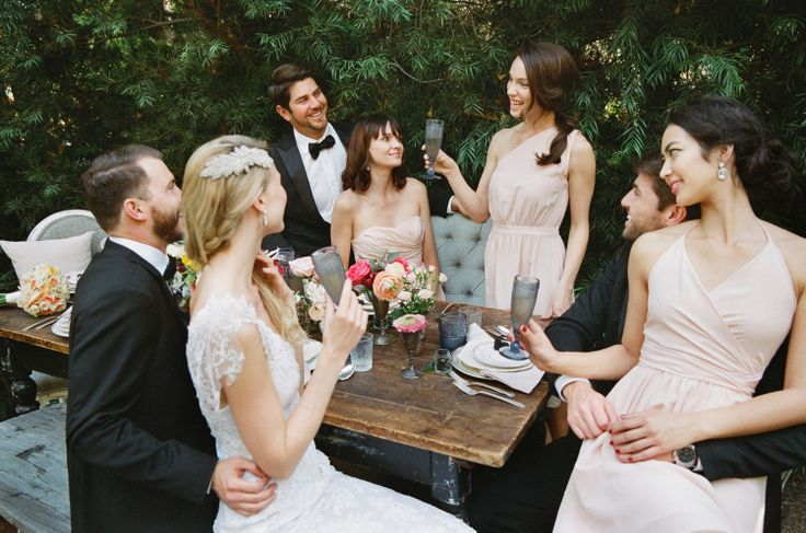 Cheers! LulaKate matte silk Ella, Haley  Tamara in Pink. More colors  styles of designer bridesmaid dresses at vowtobechic.com | Tuxes courtesy of @theblacktux | Wedding gown courtesy of @nearlynewlywed | Photography @modernromance