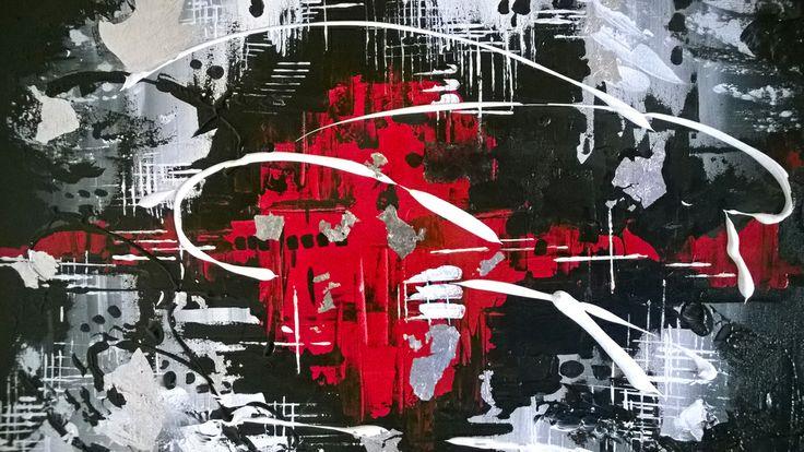 Malarstwo abstrakcyjne. Obraz na płótnie - abstrakcja. Akryl werniksowany. Dodatki srebra(płaki). Wymiary 70x50cm   #obrazy_abstrakcyjne  #sztuka_abstrakcyjna #malarstwo_abstrakcyjne  #abstrakcja