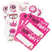 http://www.hensandbrides.com.au/item_1305/Hens-Night-Stickers-and-Name-Tag-Set.htm    Cute pink writeable name tags for the entire Hen Party. Comes with 8 Hen Party stickers and 8 sheets of naughty fun stickers. Give each Hen a sheet of naughty stickers to rate the guys!!  Stickers (12) say-  Sexiest Man, Best Sense of humour, Best Bum, Geekiest Guy, Nicest Eyes, Worst Dancer, Most Charming, Best Kisser, Best Biceps, Biggest Poser, Best Overall, Worst Chat Up Line      Price: $5.95