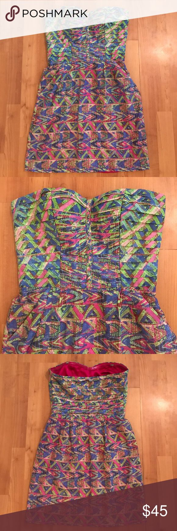 Charlie Jade Dress Fun multi-colored print dress with pockets. Great Condition. Small Petite. Charlie Jade Dresses
