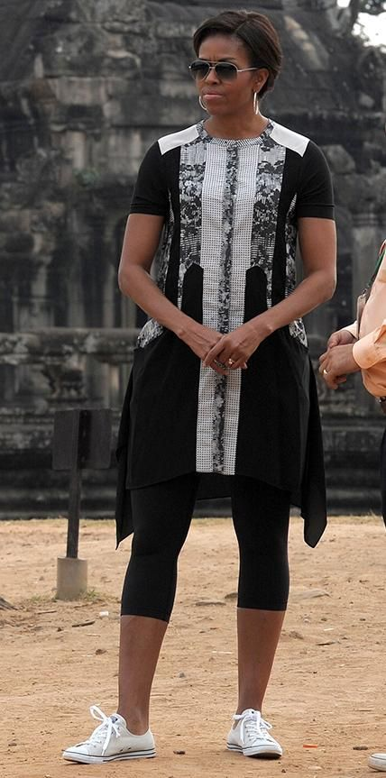 Michelle Obama's Best Looks Ever - 2015 – BCBG Max Azria from #InStyle   Obama stopped by the historical Angkor Wat temple in Cambodia wearing a paneled BCBG Max Azria dress, which she finished with leggings and classic Converse sneakers.