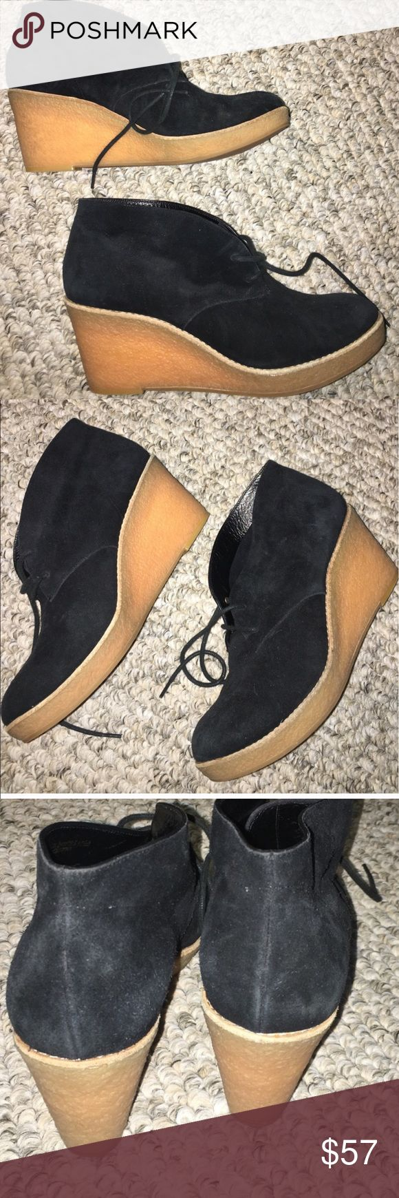 Cole Haan wedge Suede with gum rubber wedge tie ups fun casual 2 wears euc like new Cole Haan Shoes Wedges