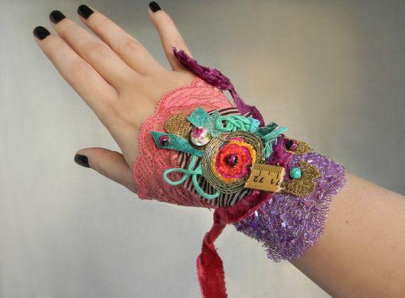 Gypsy Cuff Bracelet Fabric Wrist Cuff Textile Art by Elyseeart