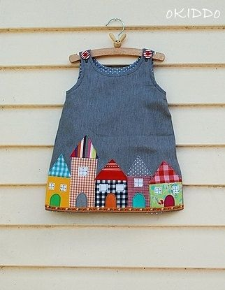 NEW at oKIDDo!! Toddler Girl's A-line Dress in Grey with Houses Appliques - Size 18-24m