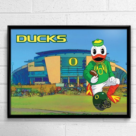 Oregon Ducks Football Poster Game Day Duck by SportPostersUSA