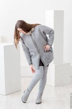 """Купить Высокие ботфорты """"Туман"""" - серый, серые сапоги, серые валенки, серые ботфорты"""