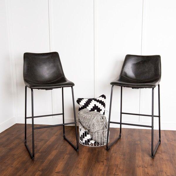 Black Faux Leather Barstools - Set of 2