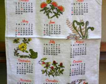 Items similar to Vintage 1970 Calendar Year Kitchen Towel - Date ...