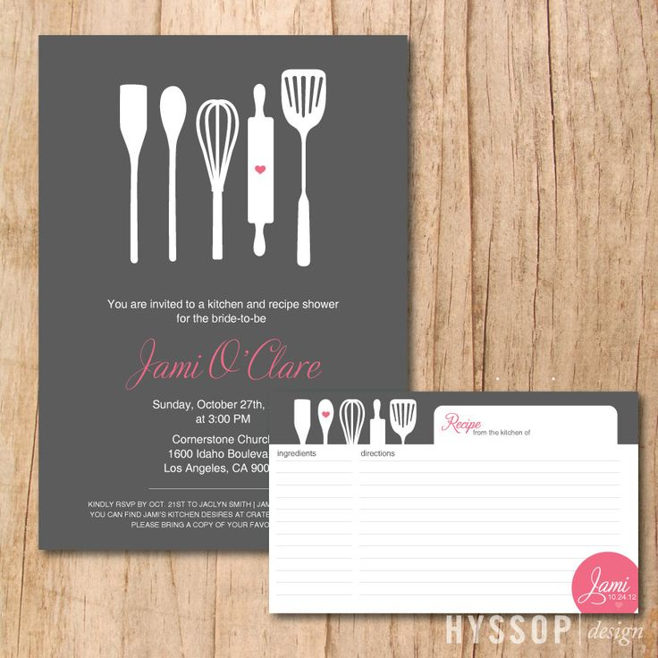 Printable/DIY - Modern Cooking Utensils Bridal Shower Invitation and Recipe Card (Charcoal and Pink). $45.00, via Etsy.