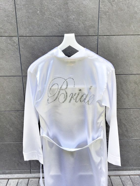 Bride Silk satin Robe with script rhinestone crystals by LAMEDORE