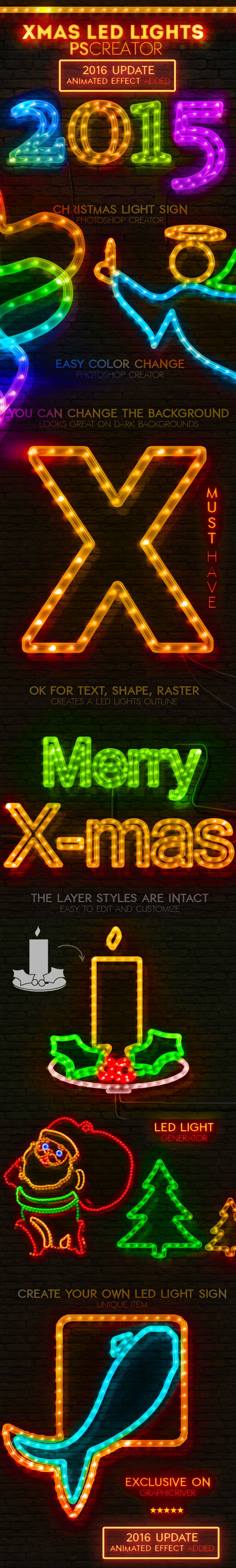 Christmas LED Light Rope Photoshop Action — Photoshop ABR #LED action #led light • Download ➝ https://graphicriver.net/item/christmas-led-light-rope-photoshop-action/9475071?ref=pxcr