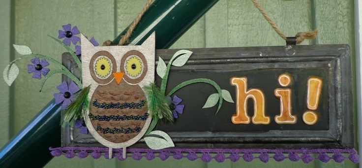 A chalkboard wall hanging using beads on the owl for A2Z Scraplets chipboard dt team project.