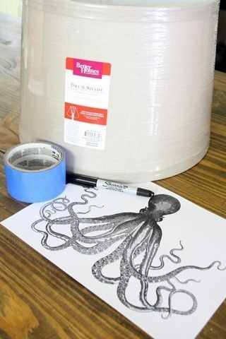 1. Sharpie 2. Lampshade 3. Painter's tape 4. Print-out design of choice! BrightNest | Shed Some Light! 4 Ways to Make an Upcycled Lampshade #Upcycle