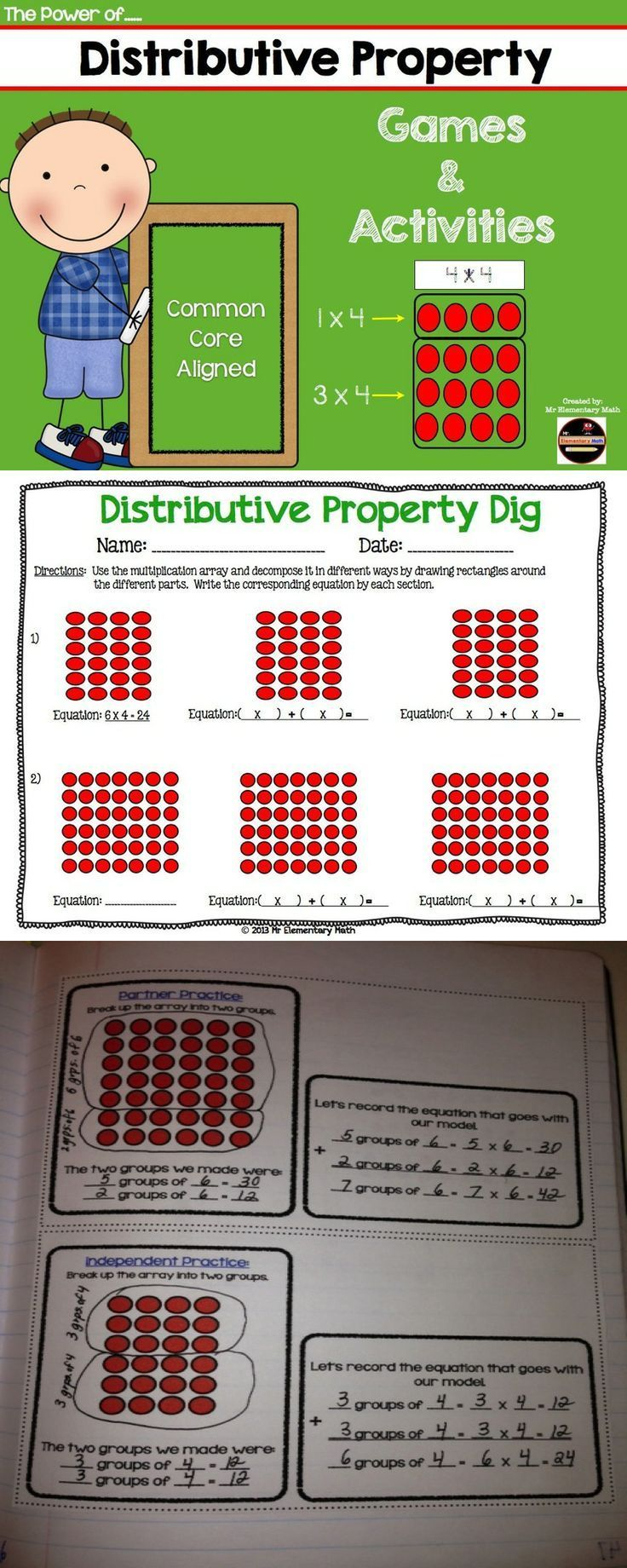 Distributive property is an essential concept in 3rd and 4th grade. Try using these activities and games that include lots of clear visuals to help develop conceptual understanding.