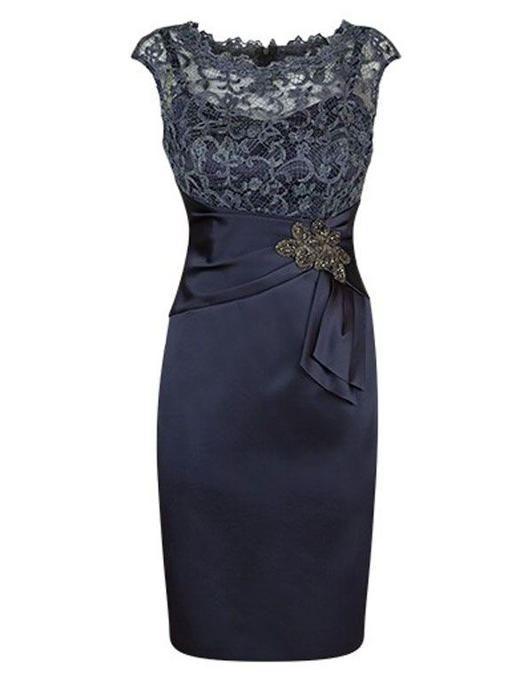 Elegant Scoop Top Lace Sheath Navy Blue Bride of the Mother Dress