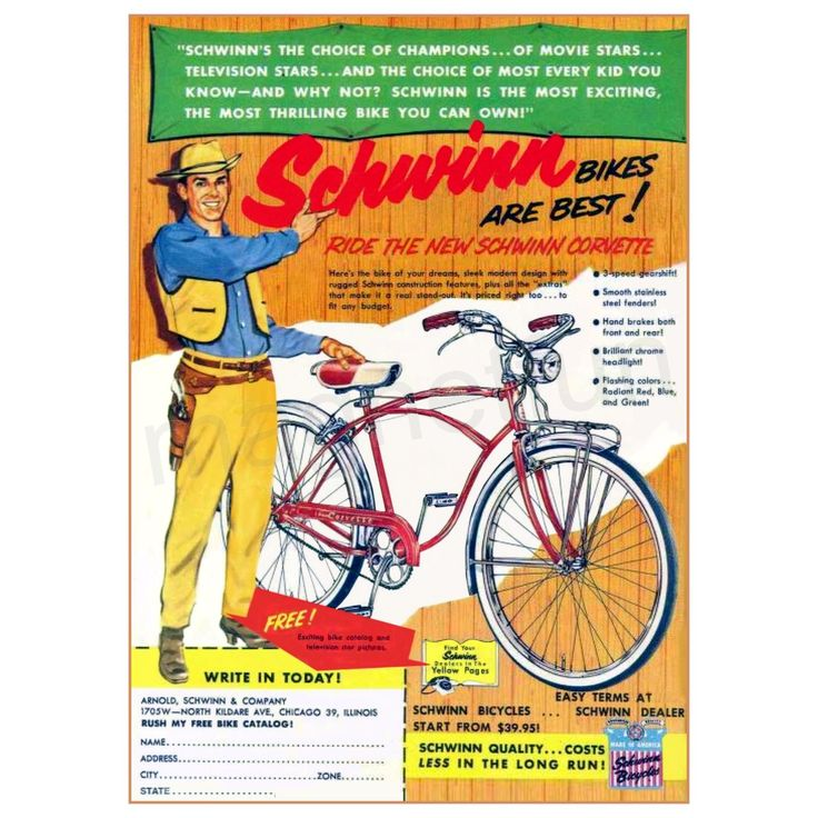 Vintage schwinn bicycle advertisements
