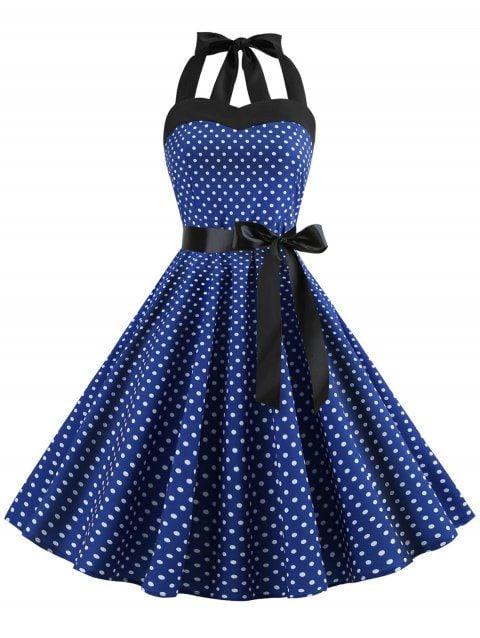 0e0f9f91ad 2019 Polka Dot Halter Neck A Line Dress In BLUE XL