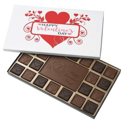 Happy Valentine's Day 45 Piece Box Of Chocolates - typography gifts unique custom diy