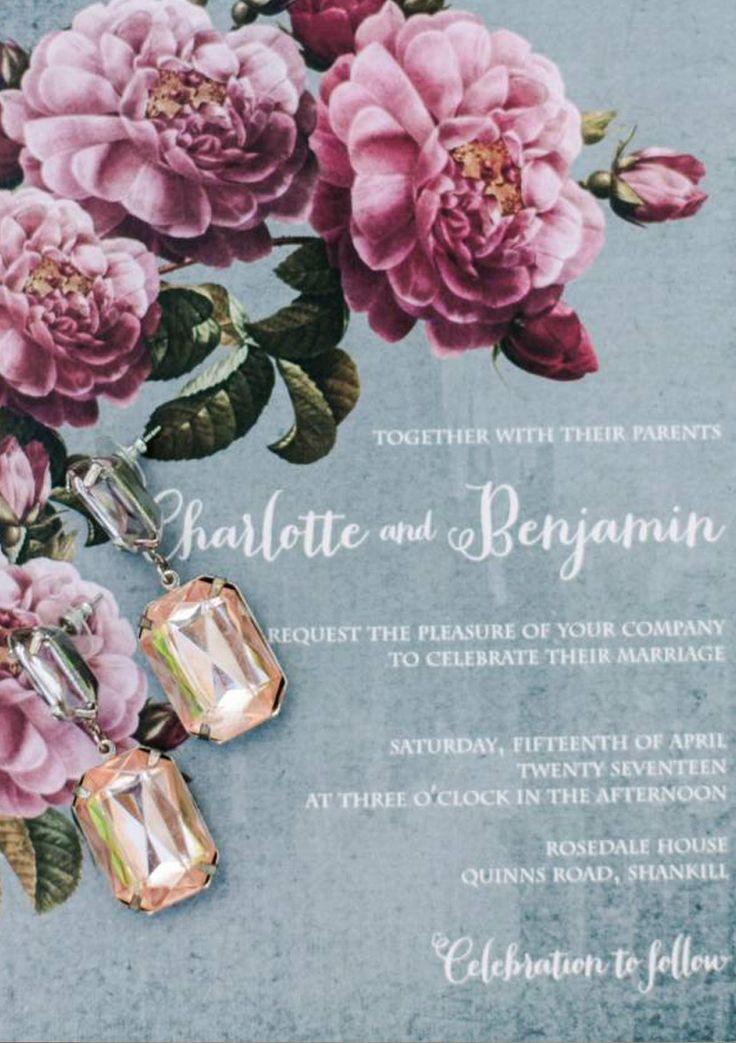 #AppleberryPress. Pink and grey wedding invitation, floral invitation grey wedding stationery. www.appleberrypress.com www.appleberrypress.com