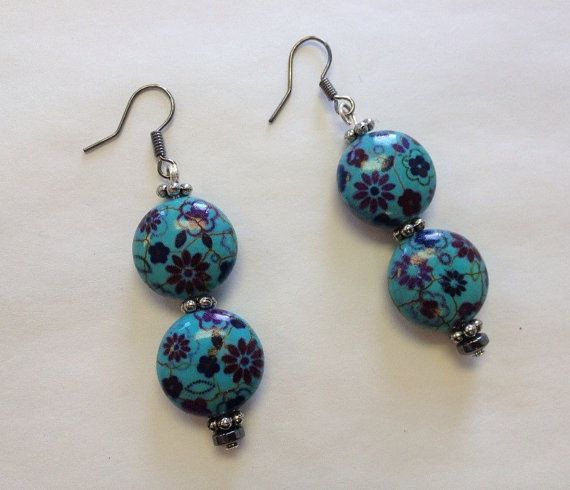 Handcrafted flower printed turquoise earrings by StarBoundWestern