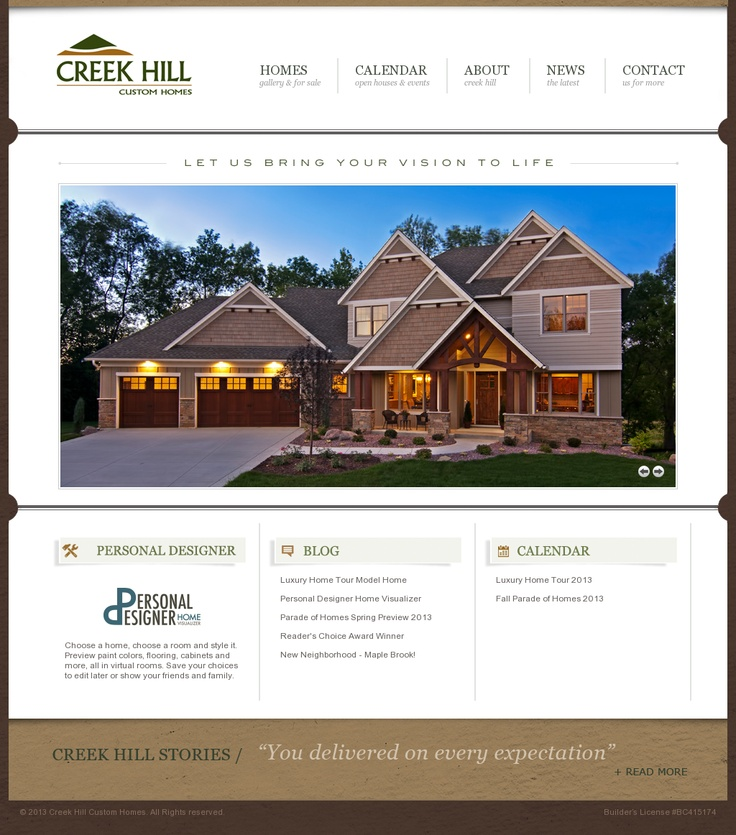 Creek Hill Custom Homes | Website Design