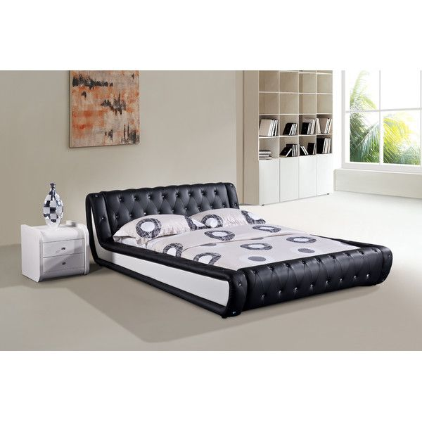 Features:  -Materials: Faux leather, wood.  -Modern style.  -Compatible with standard size mattress.  Frame Material: -Wood.  Headboard Included: -Yes.  Slats Required: -Yes.  Headboard Type: -Panel.