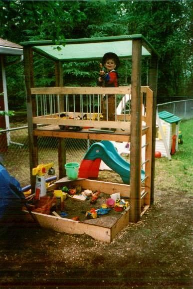This will be basic play house design but will be lower with sandbox beside instead of under. Will use ladder and side rail style but will have roof be recycled fiberglass. May add small slide and will definitely have bucket with pulley.