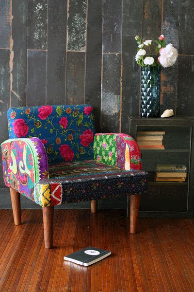 Floral Patchwork Arm Chair. Boho furniture, style.