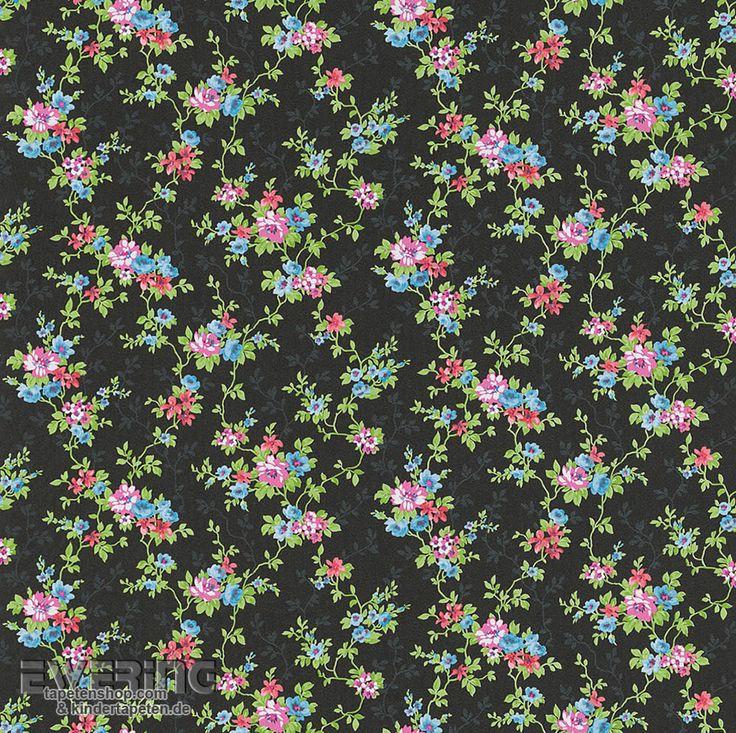 Rasch Textil Petite Fleur 3 23-285146 Blumen schwarz Papiertapete