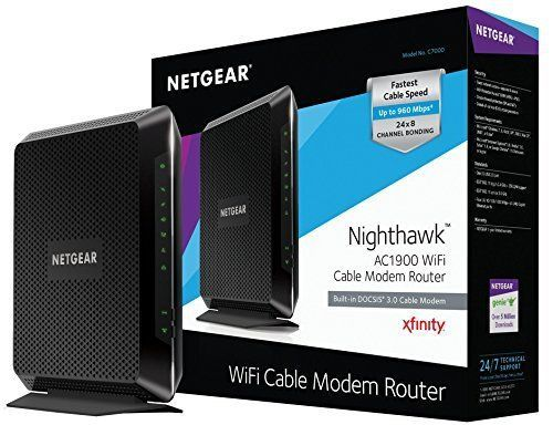 New NETGEAR Nighthawk AC1900 Wi-Fi DOCSIS 3.0 Cable Modem Router C7000-100NAS