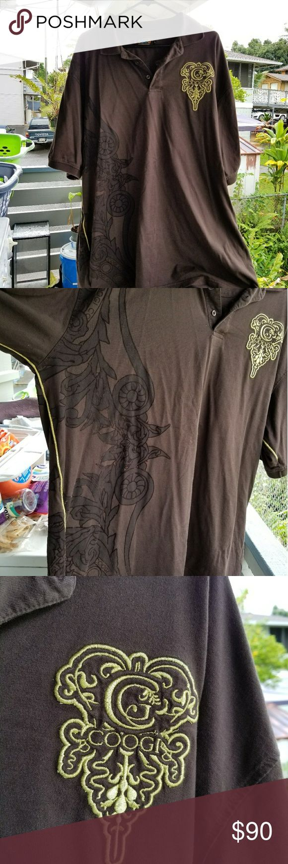 Coogi Mens Polo Shirt Authentic Coogi chocolate brown polo shirt with gold embroidery and velvet type detail. In good condition, no stains etc. Size XXXL. COOGI Shirts