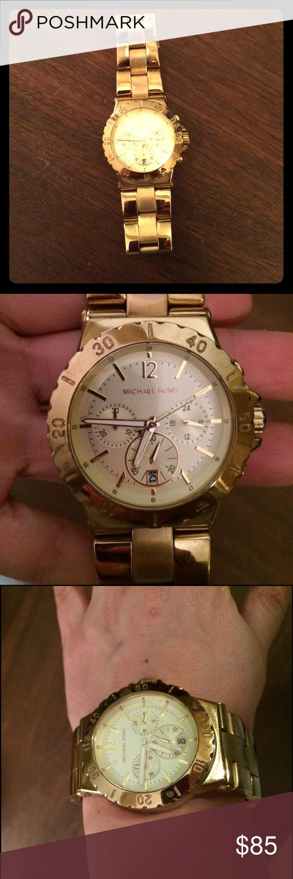 Michael Kors watch Michael Kors genuine gold large face watch. Gently used but in great condition!!! Michael Kors Accessories Watches