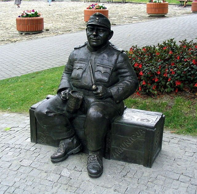 Statue of the good soldier Švejk in Przemyśl