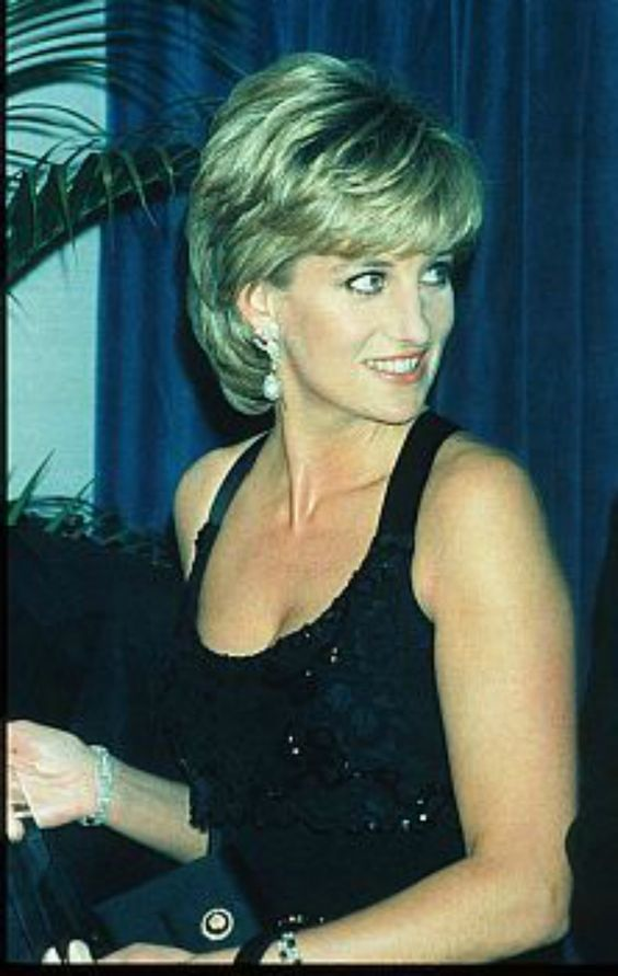 11 December 1995: Princess Diana at the 41st annual United Cerebral Palsy Awards gala in New York City. She was pictured this evening with Henry Kissinger, Colin Powell & Barbara Walters. Princess Diana in a glittery black gown, and with drop pearl earrings..
