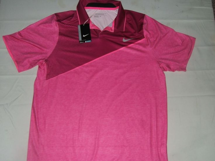 NWT $80.00 Nike Golf Tour Performance Mens SS Polo Pink Striped Size Large #NikeGolf #ShirtsTops