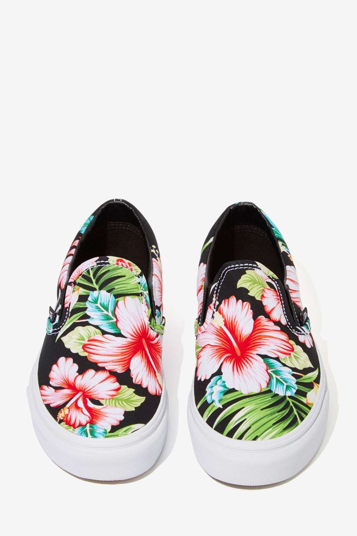 I bought lace-ups like these from @target on sale for &13.50! Vans Classic Slip-On Sneaker - Black Hawaiian Floral