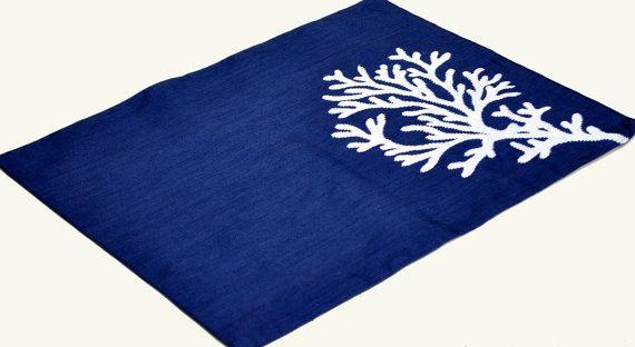 Corail Napperon Napperon Lin Lot De 4 Sets De Table Bleu Marines En Corail Blanc Brod