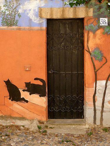 Bosa, Sardinia, Italy, province of Oristano painted door