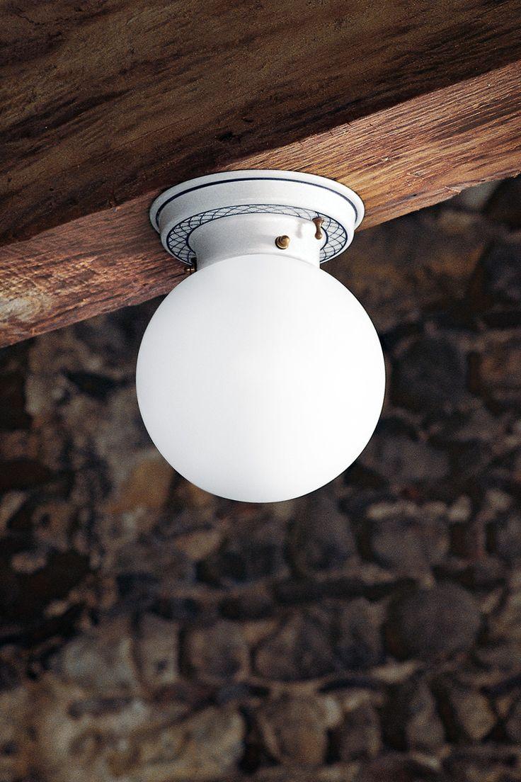 Mansarda | plafoniera in vetro e ceramica decorata - lampade per interni | Aldo Bernardi