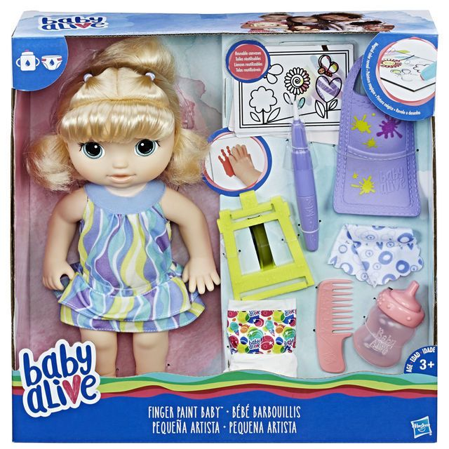 Baby Alive Finger Paint Baby Doll Blonde Drinks Her Bottle And Wets Her Diaper Baby Doll Nursery Baby Dolls Baby Alive