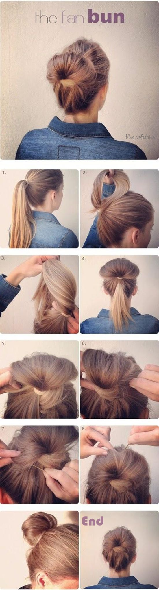 cute hair bun turorial by clip in human hair extensions