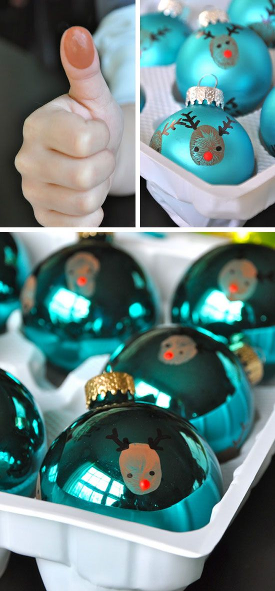 Reindeer Thumbprint Ornaments | Click for 25 DIY Christmas Crafts for Kids to Make | DIY Christmas Decorations for Kids to Make