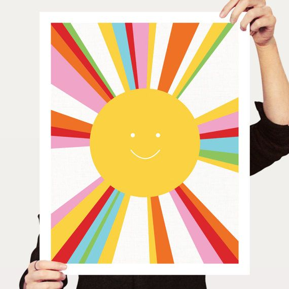 rainbow sun print  colourful decor kids by creativemonsoons