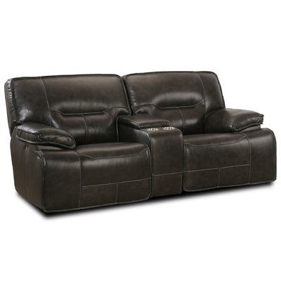 LYKE Home Power Console Glider Leather Loveseat