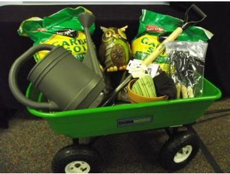Silent Auction Garden Basket - Garden dump cart, $50 Lowes gift card, garden owl figurine, shovel, Miracle Grow garden soil (2 bags), garden tool set (4 pc), knee pads, watering can (2 gal.), clay pot, and gardening gloves.