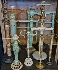 fun and funky necklace displays.  Great repurposed ideas for flea market jewelry displays - bracelets, necklaces.