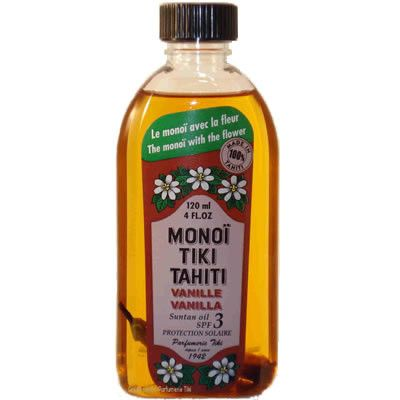 Monoi Tiki Vanille (SPF3) - Tahitian coconut oil with the sweet scent of Vanilla